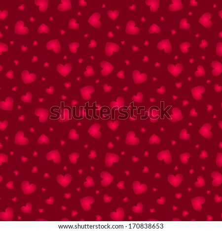 Dark red little hearts vector seamless pattern