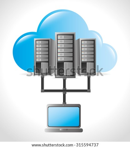 Data center, cloud computing and hosting, vector illustration eps 10.