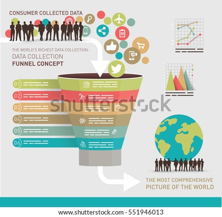 Data collection concept symbolized with a funnel