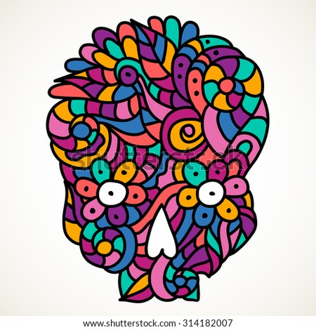 Day of The Dead colorful doodle skull with floral ornament.