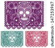 Day of the dead decoration. Papel Picado  - stock vector
