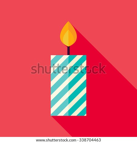Decorative Candle Icon. Flat Design Vector Illustration with Long Shadow. Merry Christmas and Happy New Year Symbol.