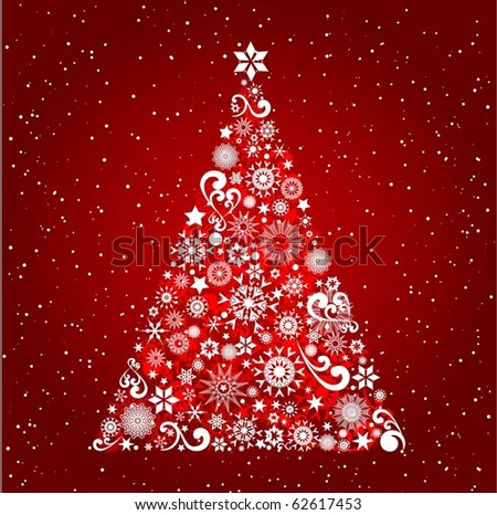 Decorative Christmas tree filled with snowflakes and stars