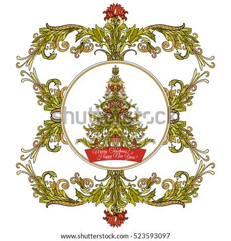 Decorative Christmas Tree Medievalstyle Frame Good Stock Vector  - Medieval Christmas Tree