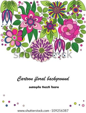 Decorative colorful cartoon vector background drawing with flowers