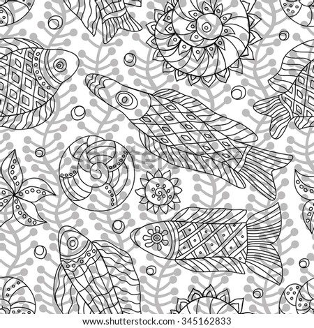 Coloring Page Underwater World Different Fish Stock Vector 703955587