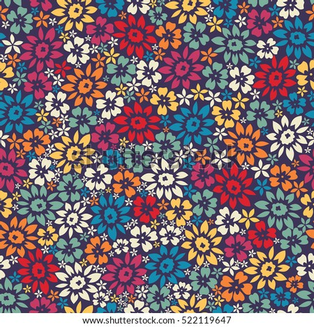 Decorative different color flowers. Seamless pattern background.