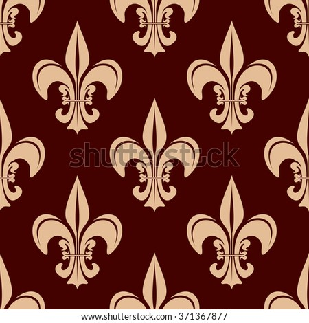 Expensive Kingly Seamless Pattern Gold Lily Stock Vector