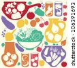 Decorative food icons - vector silhouettes of  artistic jugs, pots and glasses with fruits, vegetables and berries. - stock vector