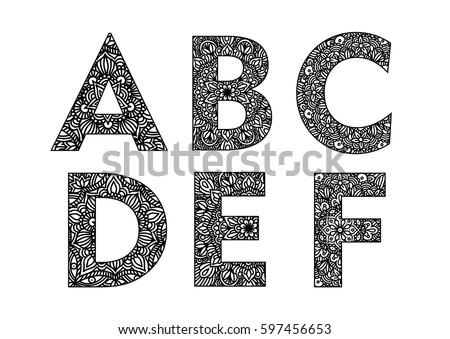 decorative hand made lettering ornamental font decorative lettering set abc