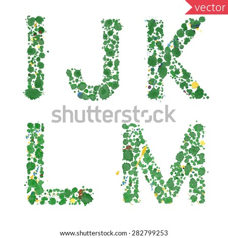 decorative letters I, J, K, L, M made from colorful drops and blots