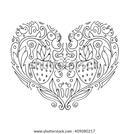 Decorative Love Heart With Berries Valentines Day Card Coloring Book For Adult And Children
