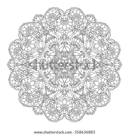 Decorative Mandala With Love Hearts Coloring Book For Adult And Older Children Page