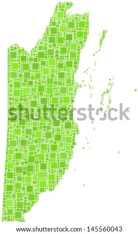 Decorative map of Belize - Central America - in a mosaic of green squares.  A number of 2483 green squares are accurately inserted into the mosaic. White background.