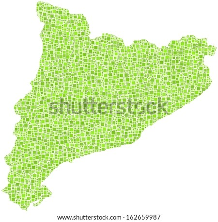 Decorative map of Cataluna - Spain - in a mosaic of green square.  A number of 5462 little squares are accurately inserted into the mosaic. White background.