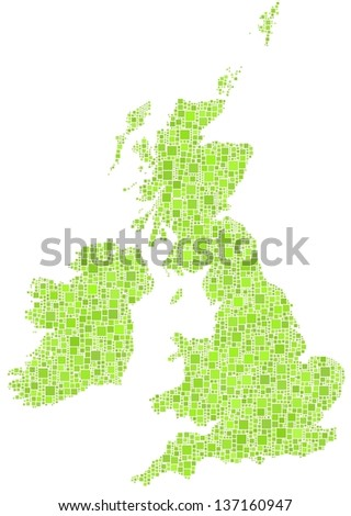 Decorative map of Great Britain and Ireland. A mosaic of little green squares. A number of 3458 little squares are accurately inserted into the mosaic. White background.