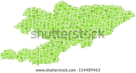 Decorative map of Kyrgyzstan - Asia - in a mosaic of green squares