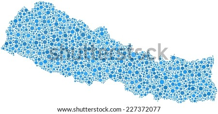 Decorative map of Nepal - Asia - in a mosaic of blue bubbles