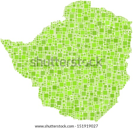 Decorative map of the Republic of Zimbabwe - Africa - in a mosaic of green squares