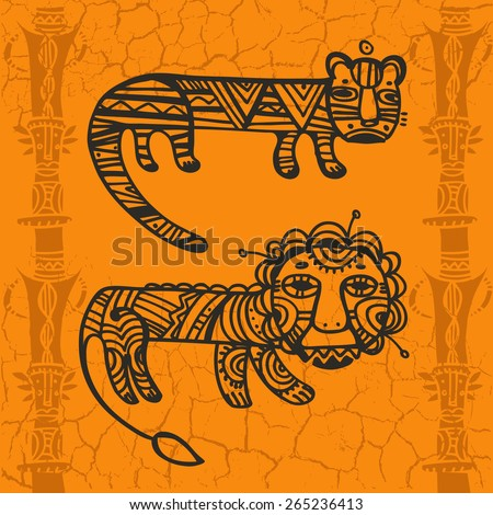 Decorative ornamental drawings of Tiger and Leo in tribal style