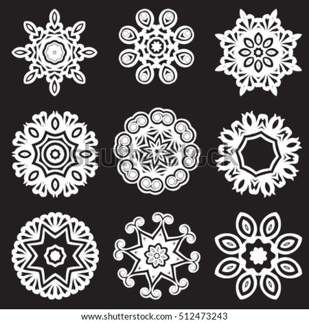 Decorative ornate. Geometric mandala icon isolated for card, Vector mandala in black and white. For invitation, scrapbook, banner, postcard, tattoo, yoga, boho, magic or flyer. Vector illustration.