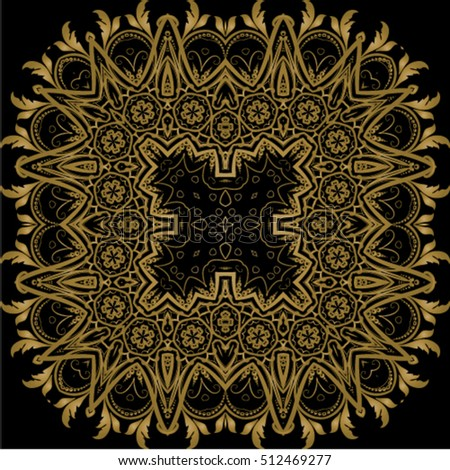 Decorative ornate. Geometric mandala icon isolated for card, Vector mandala in black, gold. For invitation, scrapbook, banner, postcard, tattoo, yoga, boho, magic or flyer. Vector illustration.