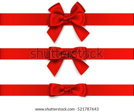 Decorative red bow with horizontal ribbon isolated on white. Vector set of bows for page decor