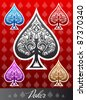 Decorative vector poker Spade icon - stock vector