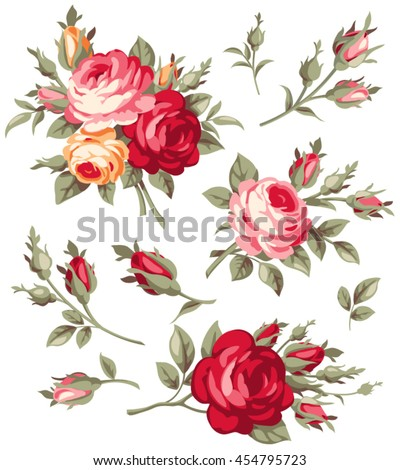 Decorative vintage rose and bud. Vector set of blooming flowers for your design. Adornment for wedding invitations and greeting cards. Antique roses for page decoration