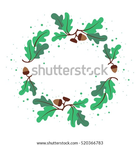 Decorative Wreath Oak Leaves Acorns Circular Stock Vector ...