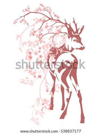 deer among pink blooming branches - vector spring season design