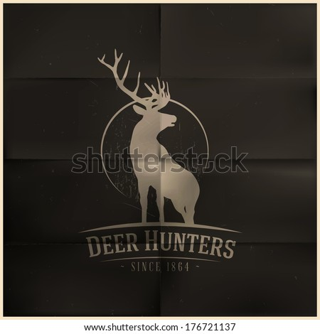 Deer buck on full moon badge