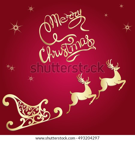 Deer Merry Christmas Poster Template Vector Stock Vector