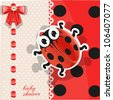 Delicate red baby shower card with cute cartoon ladybug - stock vector