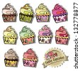 Delicious hand designed cupcakes Vector illustrations - stock vector