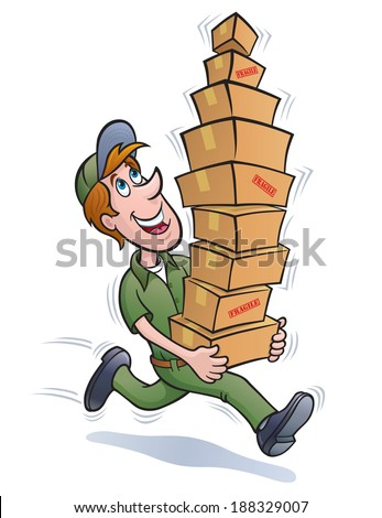 Delivery Guy Running with a Stack of Packages
