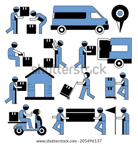 delivery service icons, shipping service people set