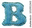 Denim letter. Jeans alphabet B - stock vector