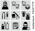 Dental care icons set. - stock vector