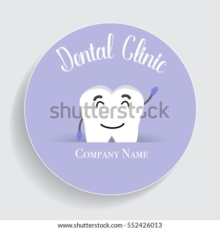 Dental Cartoon. Happy and Healthy Teeth. Vector illustration.