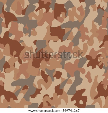 Desert Camouflage Seamless Vector Pattern Military Army Equipment Print Brown Beige Grey