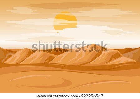 Desert mountains sandstone background. Dry desert under sun, endless sand desert. Vector illustration