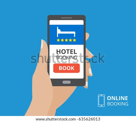 Free wifi sign concept hand holding stock vector 396983572 for Hotel booking design
