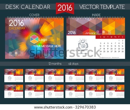 Design Desk Calendar 2016. Vector Templates All Months. Example Design Gift  Calendars For Cafes  Calendar Sample Design