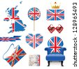 Design elements in British flag colors. EPS 10 - stock photo