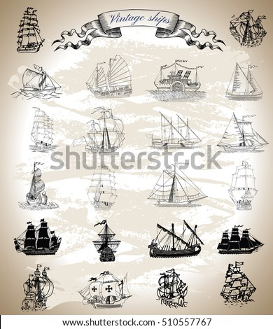 Design graphic collection with vintage ships, sailboats and vessels. Silhouettes and engraved drawings with vignette banner. Pirate adventures, treasure hunt and old transportation concept.