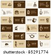 Design of business cards for coffee company - stock vector