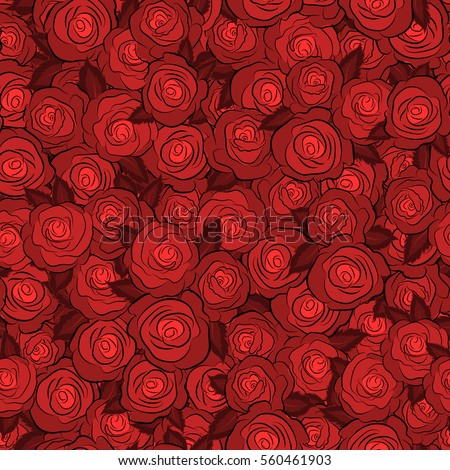 Design of flowers in vintage style. Illustration of floral decoration. Seamless vector pattern with red roses.