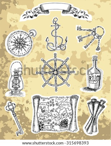 Design set of engraved pirate objects on white shadow background, hand drawn illustration