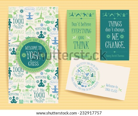 Design set with yogic quotes for yoga class. Poster, flyer, card ... Cute Halloween Flyer Templates